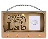 Yellow Labrador Retriever (Yellow Lab) ''Every Day is Better With a Lab'' Key and Leash Holder featuring Clear Pocket to Insert Your Photo