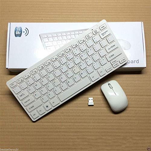 KN Enterprise Ultra Thin Fashion 2.4G Wireless Keyboard & Mouse Combo Kit Keyboard for Windows White Color