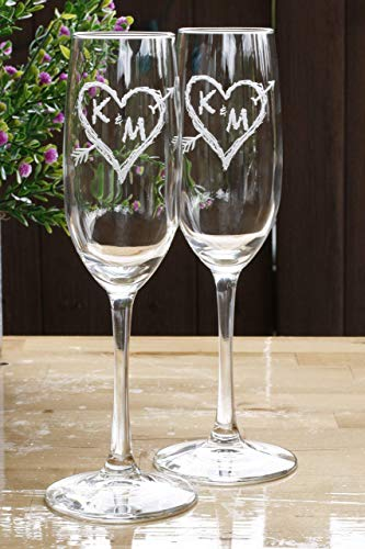 Engraved Champagne Toasting Flutes, Arrow Initials in a Heart, Wedding Gift Ideas SET OF 2 ()