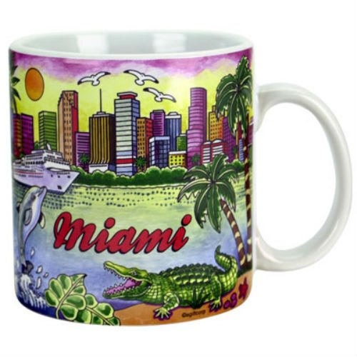 Miami Florida Florida Map Souvenir Collectible Large Coffee Mug (4