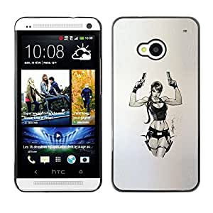 FlareStar Colour Printing Tomb Character Pc Game Chick Guns cáscara Funda Case Caso de plástico para HTC One M7