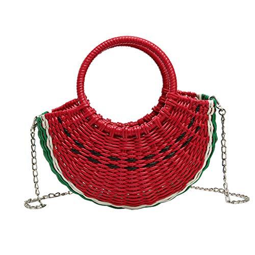 (☕Woven Handbag Semi-circle HandBags Round Ring Top Handle Colorful Quilted Pattern Open Handmade Hand-woven Summer Beach Travel Watermelon Bag Chain Shoulder Bag for Women Girls)