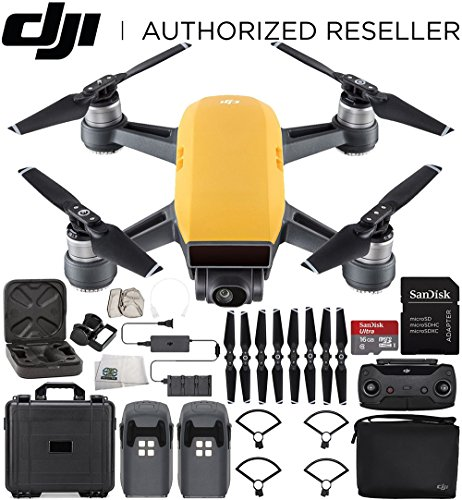 DJI Spark Portable Mini Drone Quadcopter Fly More Combo Water Proof Hard Case Bundle (Sunrise Yellow) by SSE