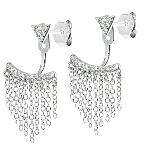 Dreambell Rhodium 925 Sterling Silver Clear Cz Crystal Chain Tassel 2 In 1 Jacket Stud Post (Tiffany Butterfly Earrings)