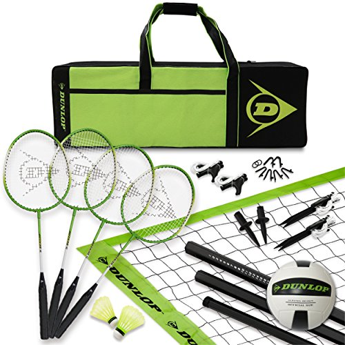 Dunlop Stand - DUNLOP Volleyball Badminton Lawn Game: 11- Piece Outdoor Backyard Party Set with Carrying Case