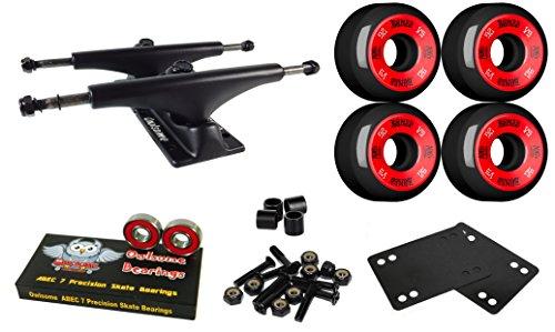 アベニュー相互接続香りOwlsome 5.0マットブラックアルミニウムSkateboard Trucksボーン52 mmブラックホイールコンボセット