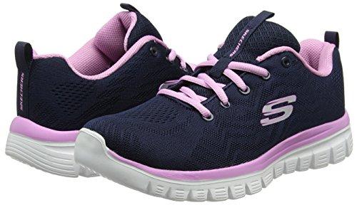 Trainers Low Skechers top navy Women Blue 12615 pink Ipcx6vqR