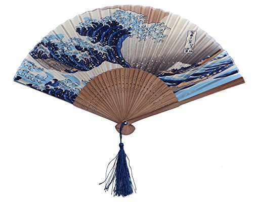 (Generic 265D Lee Goal White Butterfly Pink Flowers Pattern Lace Bamboo Handheld Folding Fans for Girls Women, Blue, One Size (One Size, Kanagawa))