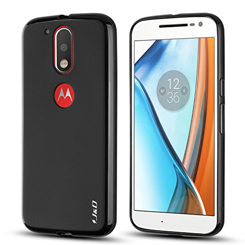 J&D Case Compatible for Moto G4 Plus/Moto G4 Case, [Drop Protection] [Slim Cushion] Shock Resistant Protective TPU Slim Case for Motorola Moto G4 Plus Bumper Case - [NOT for Moto G4 Play] - Black
