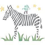 "zebra stencils for painting walls - Zebra Stencil - (size 8.5""w x 7""h) Reusable Wall Stencils for Painting - Best Quality African Wild Animal Ideas - Use on Walls, Floors, Fabrics, Glass, Wood, Terracotta, and More…"