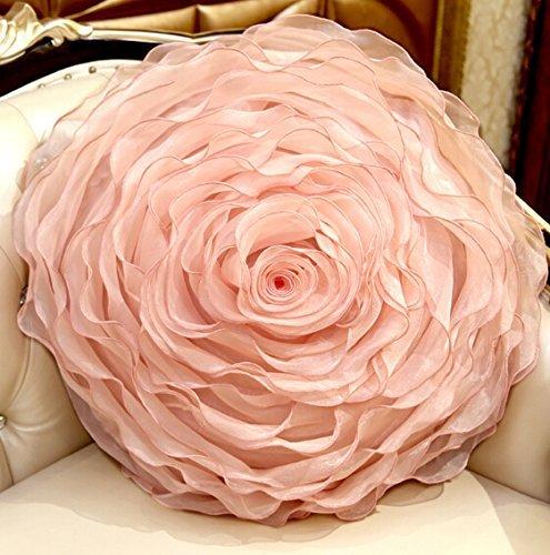 Organza Handwork Disk flowers Rose Round Pillow Romantic