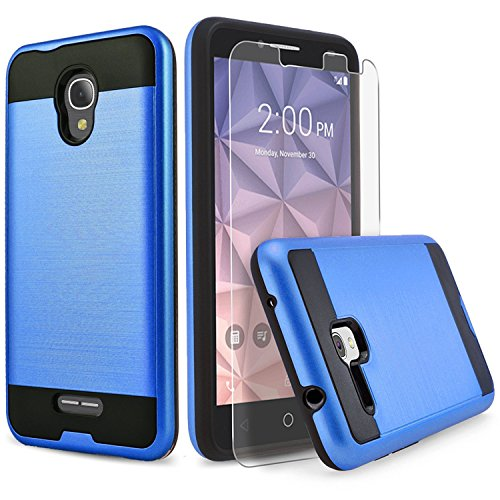 Alcatel IdealXcite Case, Alcatel Raven LTE (A574BL) Case, Alcatel Verso/CameoX Case, Circlemalls Shockproof Phone Cover with [Tempered Glass Screen Protector] and Stylus Pen (Blue)