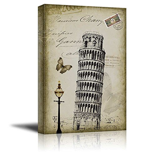 Beautiful Drawing of of The Leaning Tower of Pisa Placed onto a Vintage Style Background