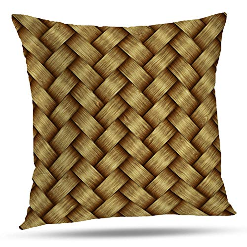 Batmerry Striped Pillow Covers 18x18 Inch, High Woven Computer Woven Wood Backdrop Basket Brown Country Floor Double Sided Decorative Pillows Cases Throw Pillows Covers