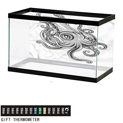 bybyhome Fish Tank Backdrop Kraken,Animal Cuttlefish Sea,Aquarium Background,48