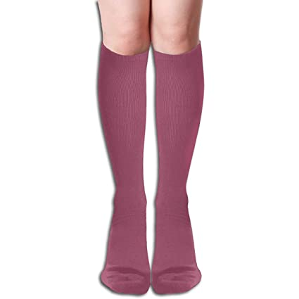 ec6213fc5cf Amazon.com  JINUNNU Knee High Tube Socks China Rose Solid Color Cool Dress  Socks for Girl Women  Home   Kitchen