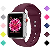 Sport Band For Apple Watch Band 38mm 42mm,Bandx Straps Soft Silicone Replacement Bands for iWatch Apple Watch Series 3,2,1 -(Wine Red 38M/L)