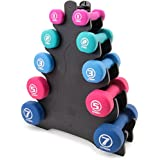 Crown Sporting Goods 5 Pairs of Neoprene Exercise Dumbbells - Fitness Sculpting Hand Weights with Mobile Storage Rack