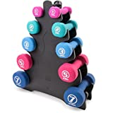 Cheap Crown Sporting Goods 5 Pairs of Neoprene Exercise Dumbbells – Fitness Sculpting Hand Weights with Mobile Storage Rack