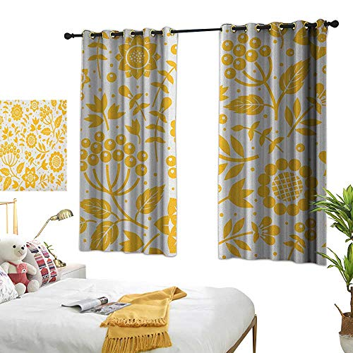 Bedroom Curtains W63 x L45 Yellow Flower,Rustic Composition with Berries Twigs Graphic Flora Nature Leaves Pattern, Yellow White BedroomRoom Darkening,Blackout Curtains Room/Kid's Room