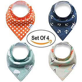 Snap Buttons Cotton Baby Bandana Drool Bibs Saliva Towel for Set of 4 Baby Feeding