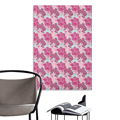Camerofn Wall Mural Wallpaper Stickers Floral Artistic Orchid Blossoms in Pink and Mint Shades and Grunge Effect Tropical Plant Multicolor Men