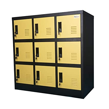 . MECOLOR Metal Kids Locker for Girls Bedroom and Playroom Storage for  Clothes Bags Toys and Book  Yellow  9D