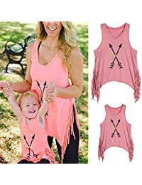 WIFORNT Mommy and Me Matching Letter Print Tank Top Sleeveless Tassel Family T-Shirt
