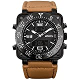 INFANTRY Big Face Mens Military Tactical Watch Heavy Duty Wrist Watches for Men - Genuine Leather Band