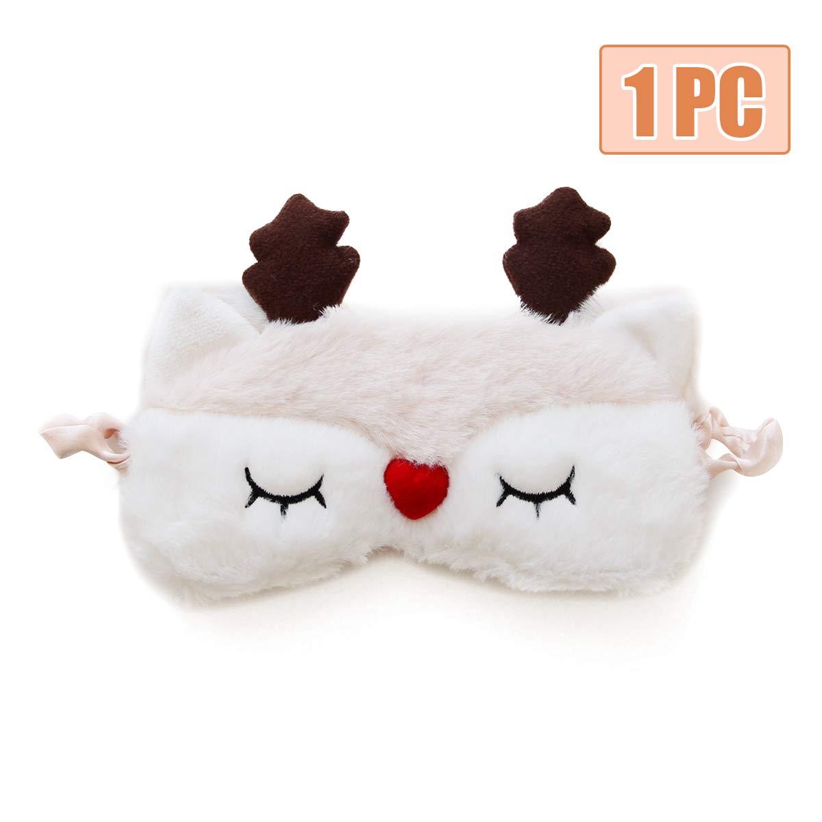 H HOMEWINS Masque de Nuit Yeux Confortable en 100/% Soie Naturelle /& Peluche Ultra-Douce Ajustable Dormir pour Voyage Dessin Anim/é Mignon Femme Enfant Masque de Sommeil Panda