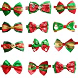 PET SHOW Christmas Lot Puppy Small Dog Bow Ties Pet Cat Bowties Collar for Christmas Party Grooming Accessories Pack of 10