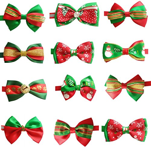 PET SHOW Christmas Lot Puppy Small Dog Bow Ties Pet Cat Bowties Collar for Christmas Party Grooming Accessories Pack of 10 (Wholesale Dog)