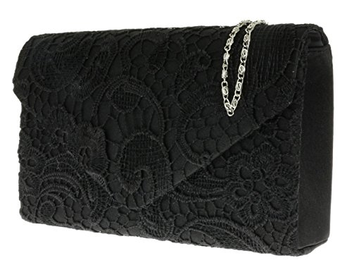Chain Satin HandBags Gift Elegant Black Lace Clutch Bag Evening Girly Shoulder Womens Wedding Coral nYFHAxF
