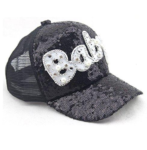 97e93ca4c0e62 Infant   Toddler Sequins Mesh Trucker Plain Snapback Letter Baby Baseball  Cap Hip Hop Hats for