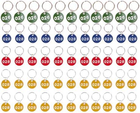 STOBOK 1-50 Aluminiumlegierung Key Tag Set Nummerierte ID-Tags Metall-Nummernschilder Gepäckanhänger Schlüsselanhänger Etiketten Nummer Schlüsselanhänger/Zufällige Farbe