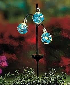 triple globe solar light stake blue garden outdoor. Black Bedroom Furniture Sets. Home Design Ideas