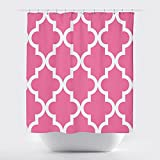 Hot Pink Shower Curtain Rings Studios Scalloped Shower Curtain,Large White on Hot Pink by Crystal Emotion