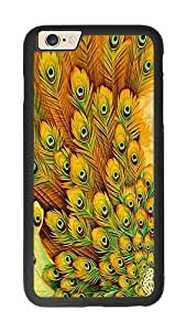 iPhone 6 Case, Yellow Peacock Feather iPhone 6 Rugged TPU Case Black