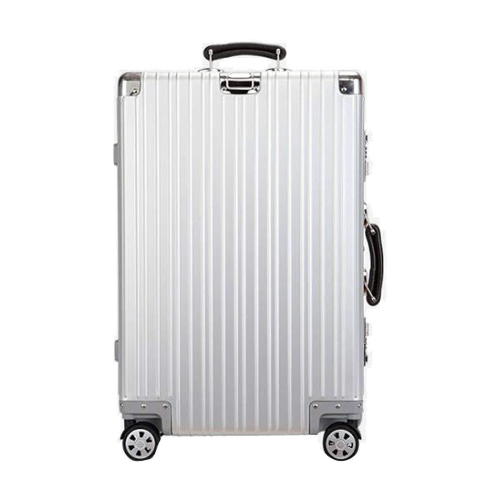 スーツケースアルミマグネシウム合金トロリー手持ちのキャビン荷物ハードシェルトラベルバッグ軽量4スピナーホイール 42*26*62cm B07SSZW2PY Silver