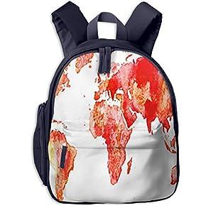 Mochilas Infantiles, Bolsa Mochila Niño Mochila Bebe Guarderia Mochila Escolar con Mapa del Mundo Rojo Tierra para Niños De 3 A 6 Años De Edad