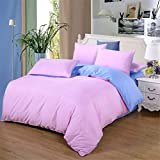 Jameswish Polyester Color Block 4-piece Bedding Sets, Includes 1Duvet Cover,1Flat sheet,2 Matching P