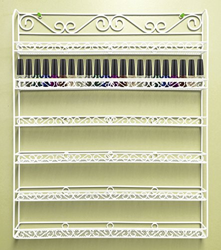 (Pana Nail Polish Display Organizer Metal Wall Mounted Rack - Fit up to 100 Nail Polish Bottles - For Home Salon Business Spa (White Color))