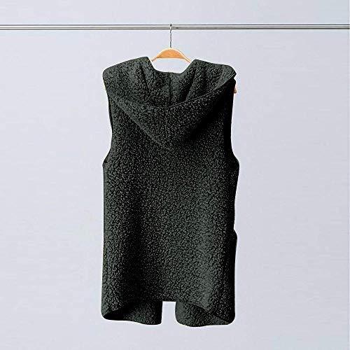 Jacket Con De Elegante Cappuccio Warm Autunno Marca Outwear Donna Bolawoo Gilet Faux Winter Coat Ladies Inverno Mode Casual Sherpa Schwarz 8nP0wOkX