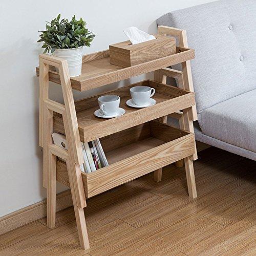 MEI- Ladder Flower Rack Solid Wood Multi-Layer Flower Shelf/Shelf / Sorting Storage Box Storage Rack Drainable (Rack Sorting Shelf)