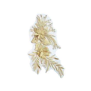 DIY Ropa Decorativa Pegatinas de Tela Tridimensional Patrón de flor Ropa de Calcomanías Decorativas para Manualidades Adornos de Bricolaje-Amarillo: ...