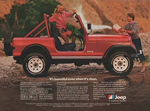 """Magazine Print Ad: Red 1982 Jeep CJ Renegade,""""It's beautiful even when it's clean"""""""