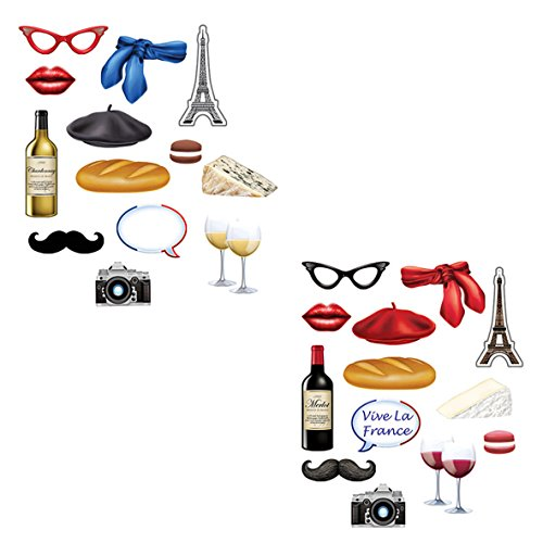 French Photo Booth Props (Beistle 54797 French Photo Fun Signs, 28 Piece, 3.5