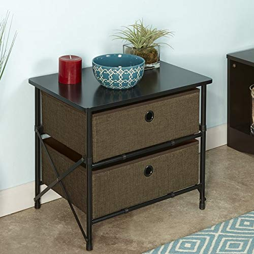 Wood Frame Storage Drawer - 2 Drawer Storage Chest with Fabric Drawers - Storage Unit with Iron Hardware - Brown
