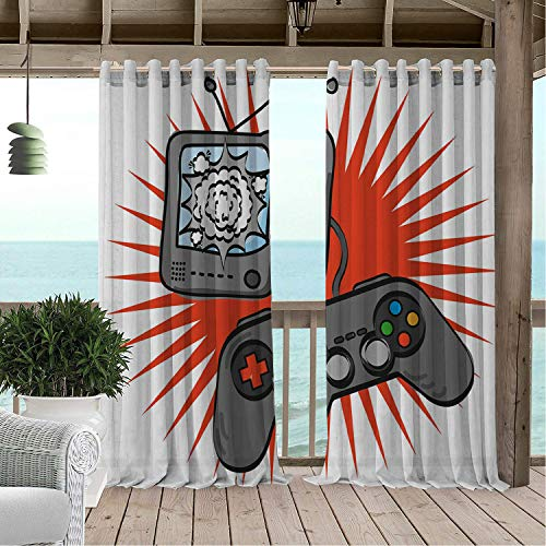 Linhomedecor Outdoor Waterproof Curtain Boys Room Video Games Themed Design in Retro Style Gamepad Console Entertainment Orange Grey White pergola Grommets Cabana Curtain 120 by 72 inch