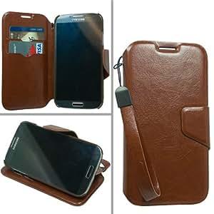 Brown Folio Pouch Cover Case for Samsung Galaxy S4 S IV SIV EQ-68